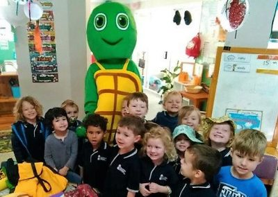 Kindy class Learning Water Safety with Trevor the Turtle from Rackley Swim School